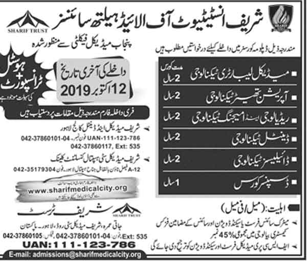 Sharif-Institute-of-Allied-Health-Sciences-Lahore-Admission