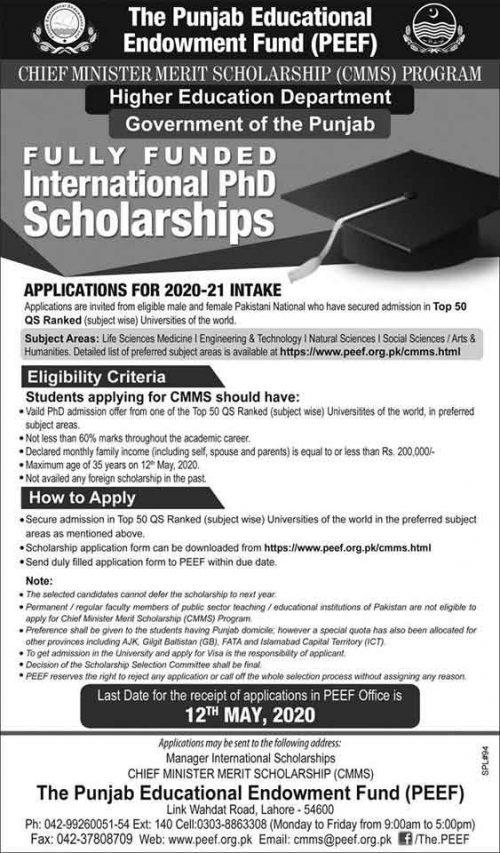 cm punjab scholarship 2020