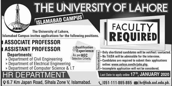 University-of-Lahore-Islamabad-Campus-Jobs-2020