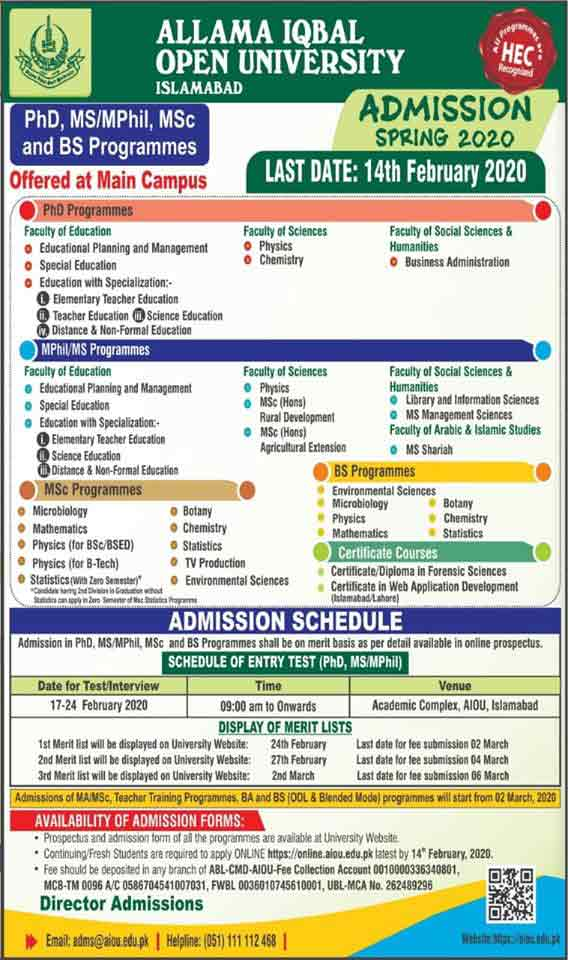 AIOU-Admission-2020-Merit-List