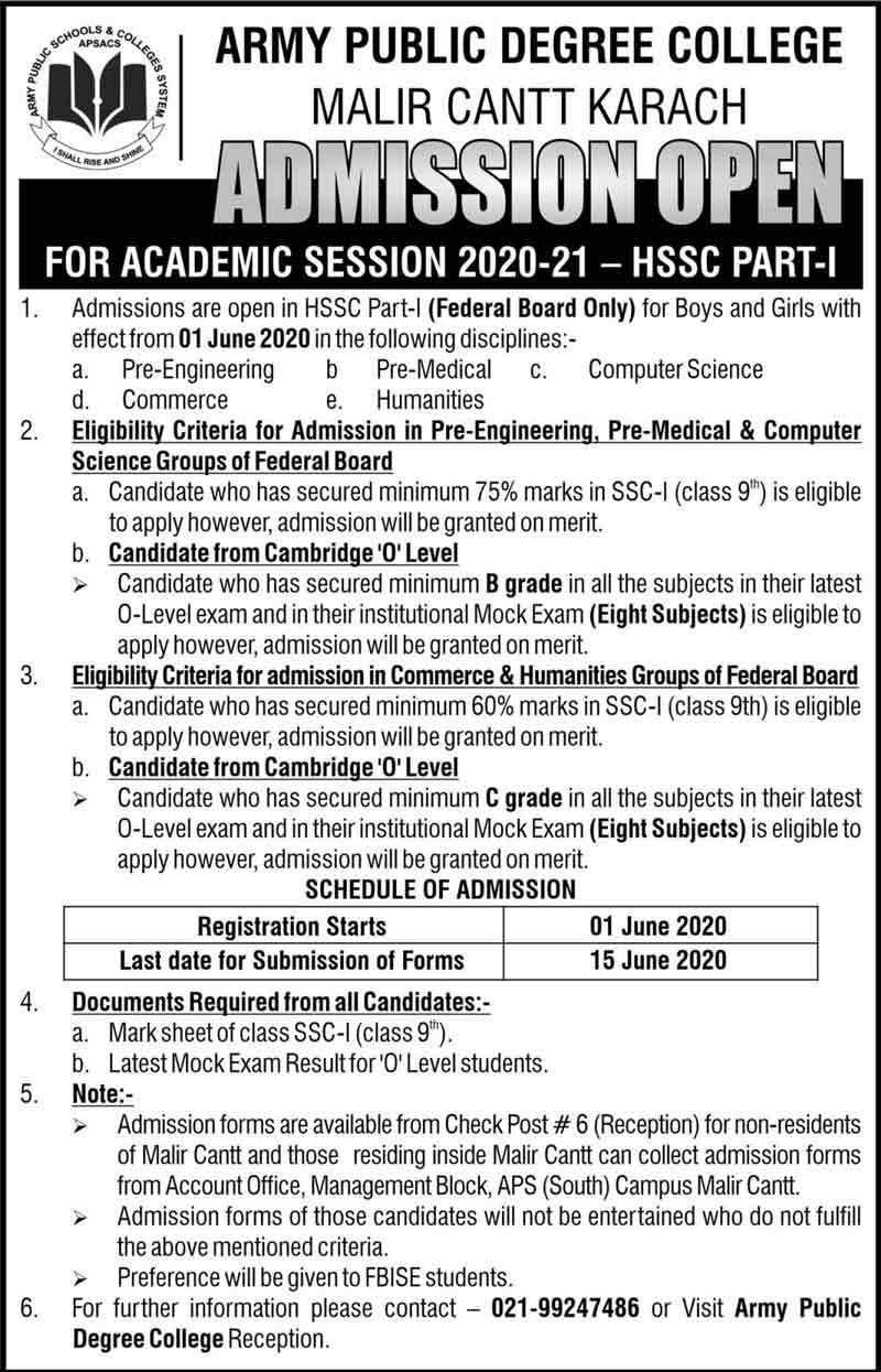 Army-Public-Degree-College-Malir-Cantt-Admission-2020
