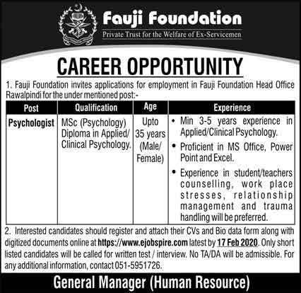Jobs-in-Fauji-foundation-2020