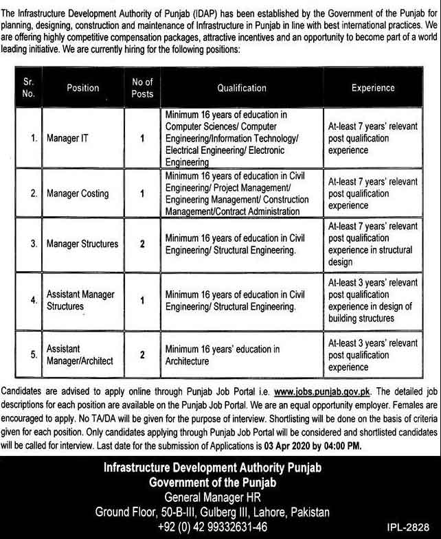 Infrastructure-Development-Authority-Punjab-Jobs-2020-Last-Date