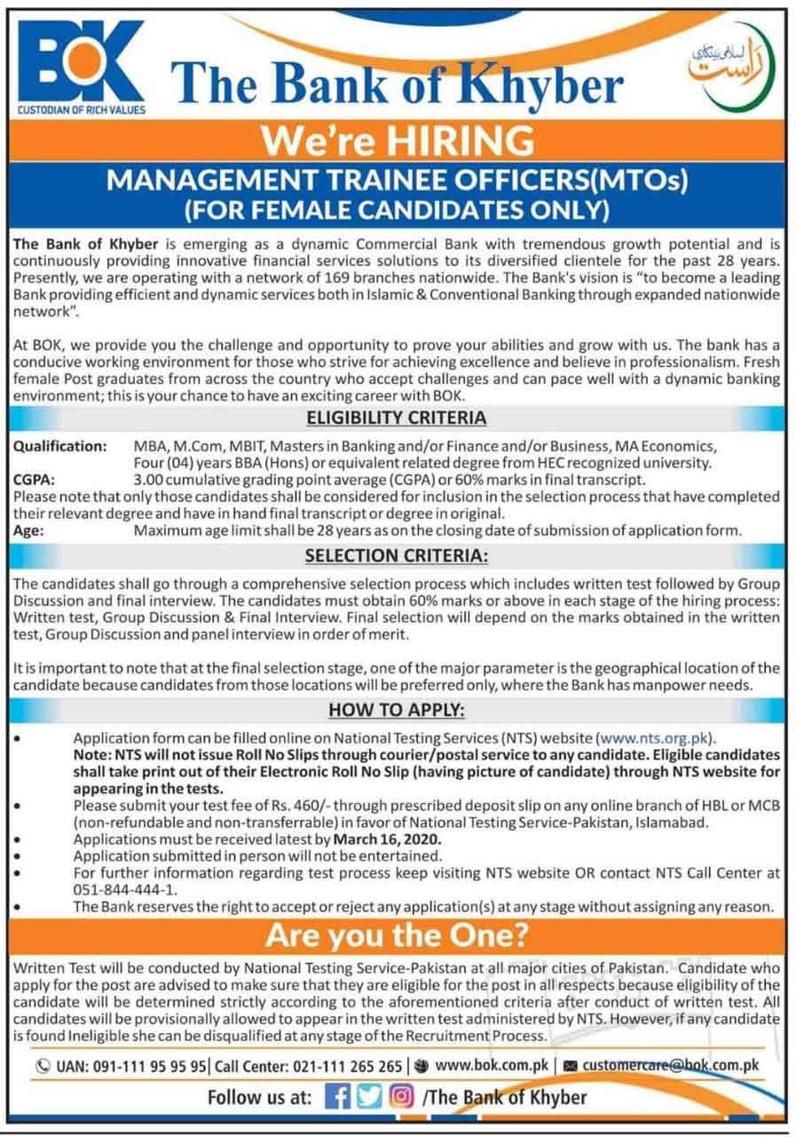 Management-Trainee-Officer-Jobs-2020 Khyber Bank