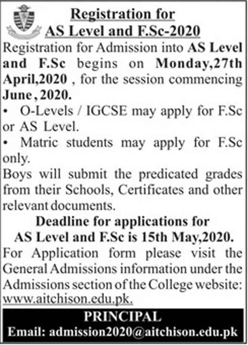 Aitchison-College-Lahore-Admission-in-1st-Year-2020