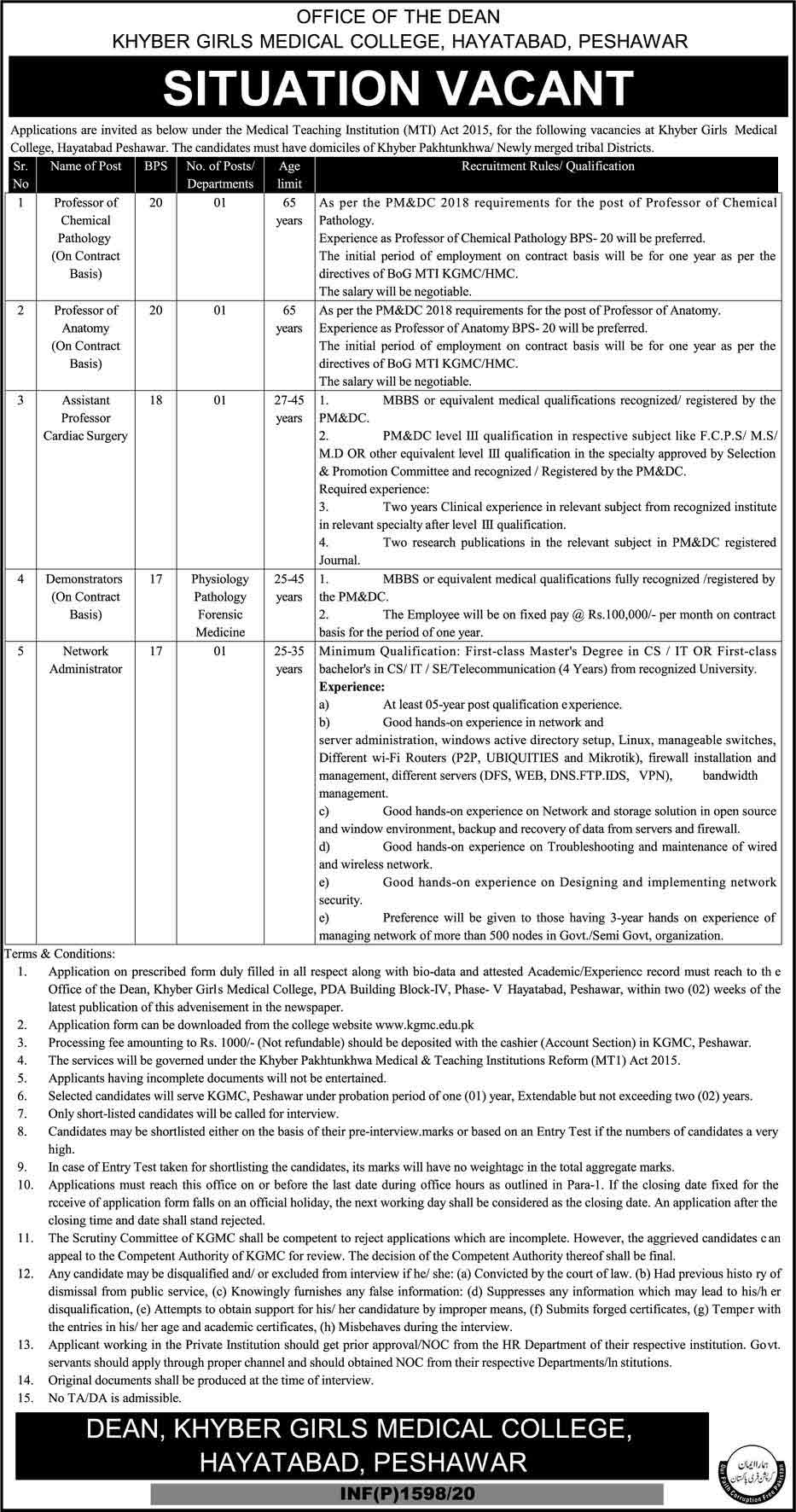 Khyber-Girls-Medical-College-Peshawar-Jobs-2020