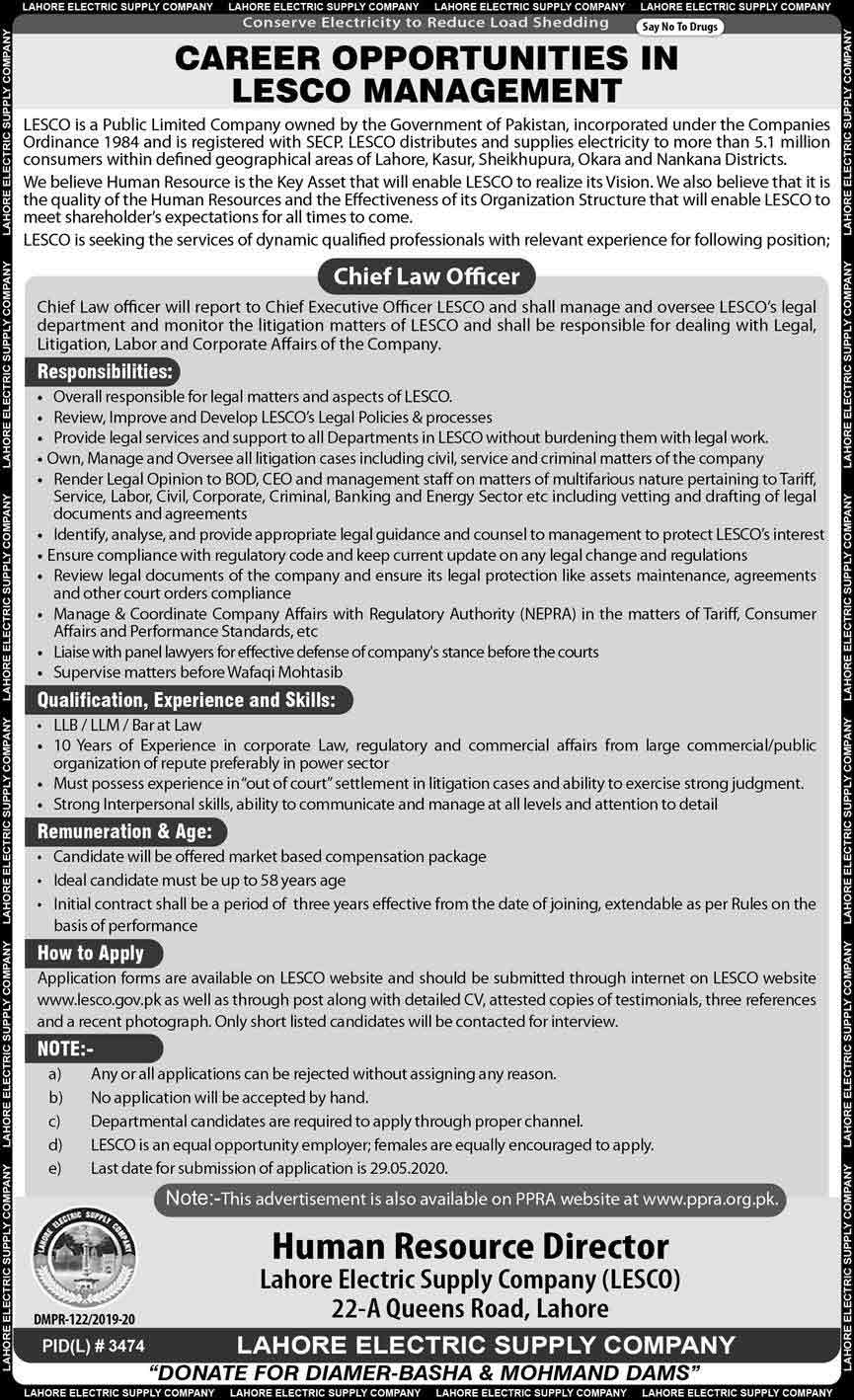 LESCO-Lahore-Jobs-2020-Chief-Law-Officer