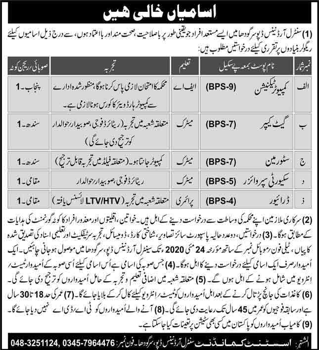 Pakistan-Army-Central-Ordnance-Depot-Sargodha-Jobs-2020