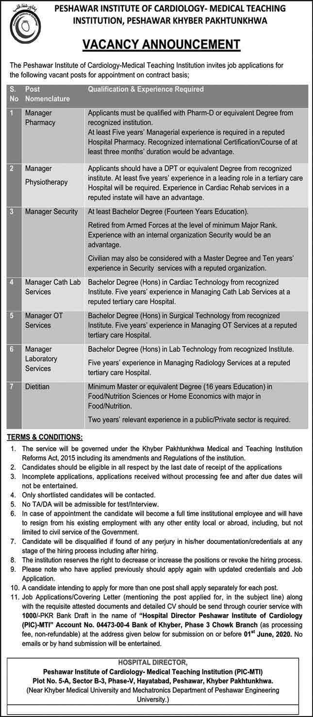 Peshawar-Institute-of-Cardiology-Jobs-2020