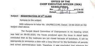 Bise-Rawalpindi-Registration-Schedule-2020 Board