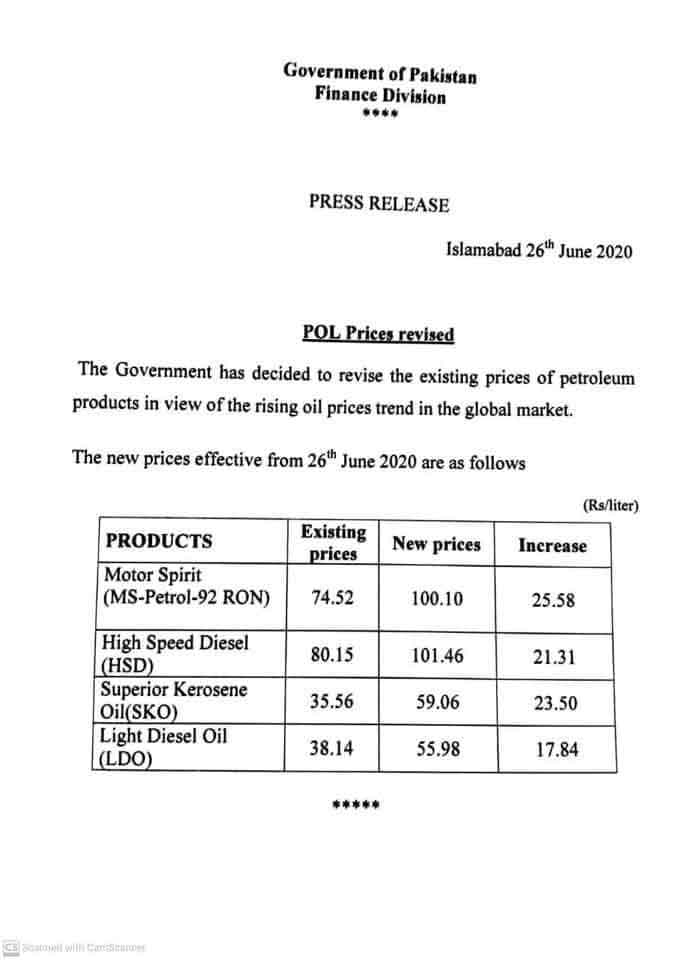 Diesel-Petrol-Price-Rate-26-June-2020-Notification-Government
