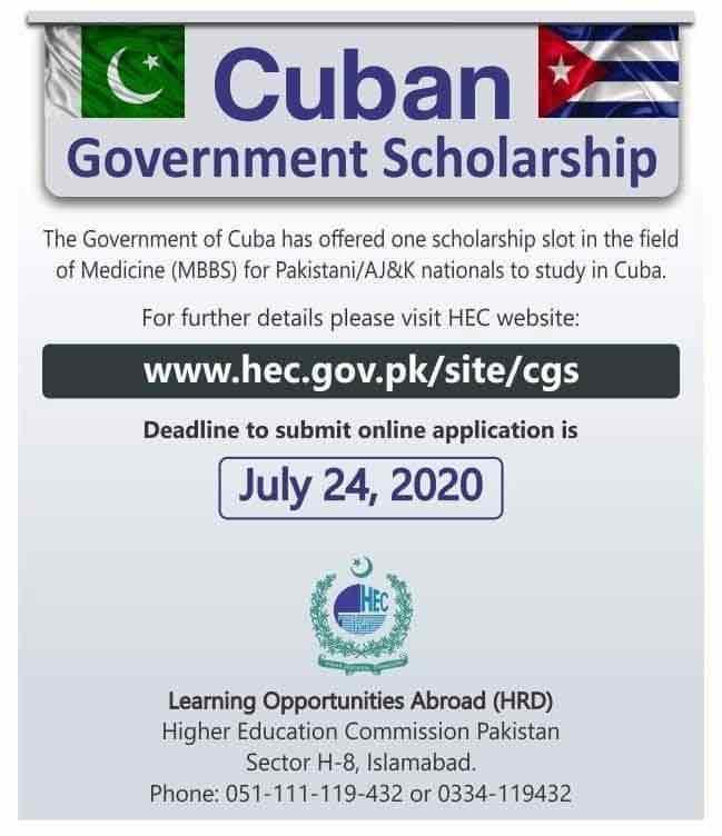 Cuba Medical Scholarship 2020 HEC MBBS Application Form Online