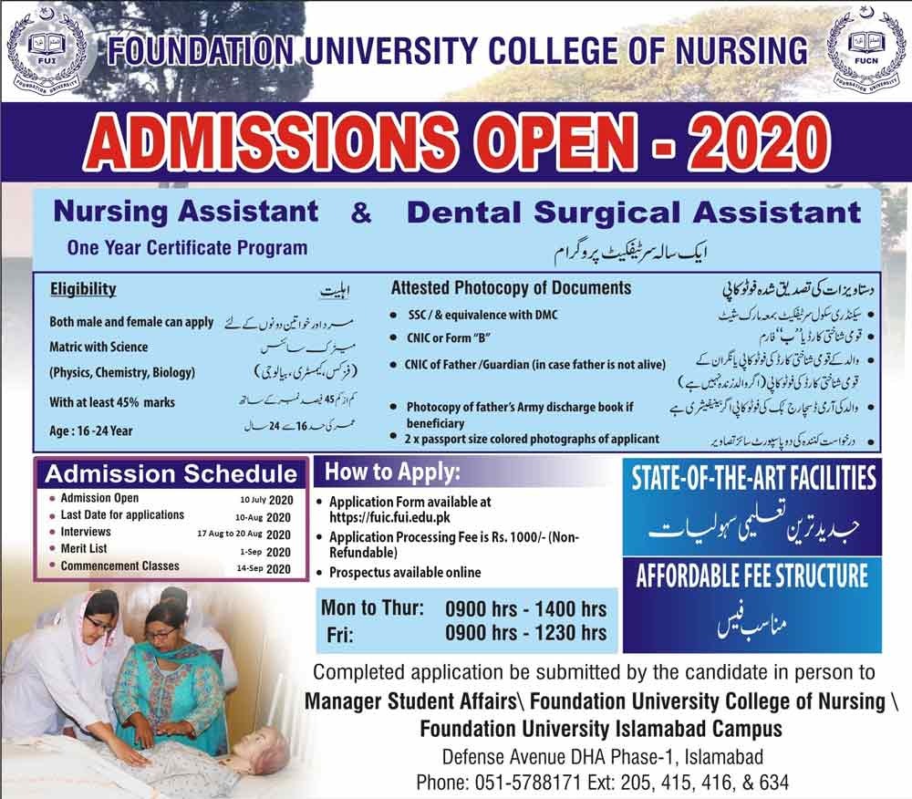 Foundation-University-College-of-Nursing-Admission-2020