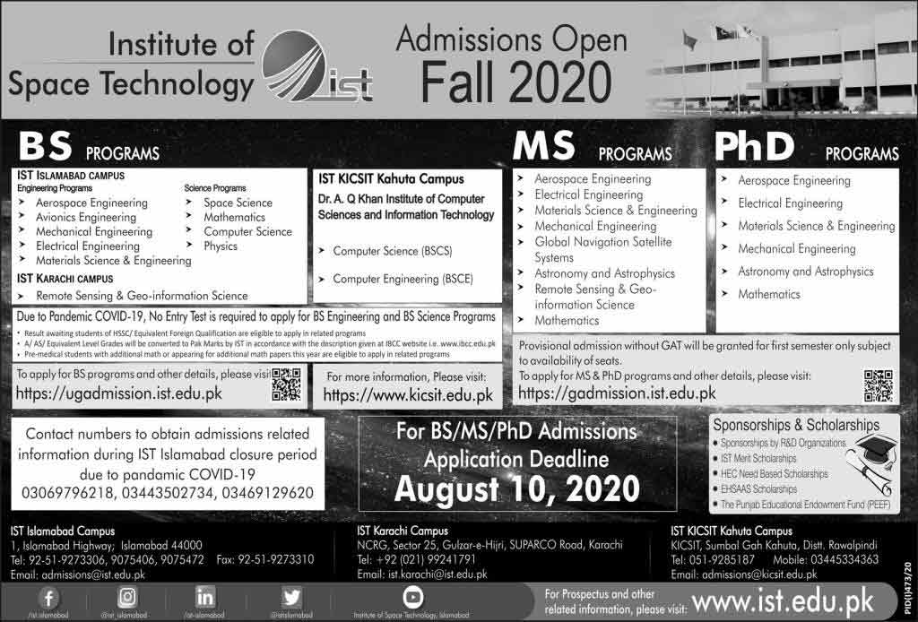 Institute-of-Space-Technology-Admission-2020