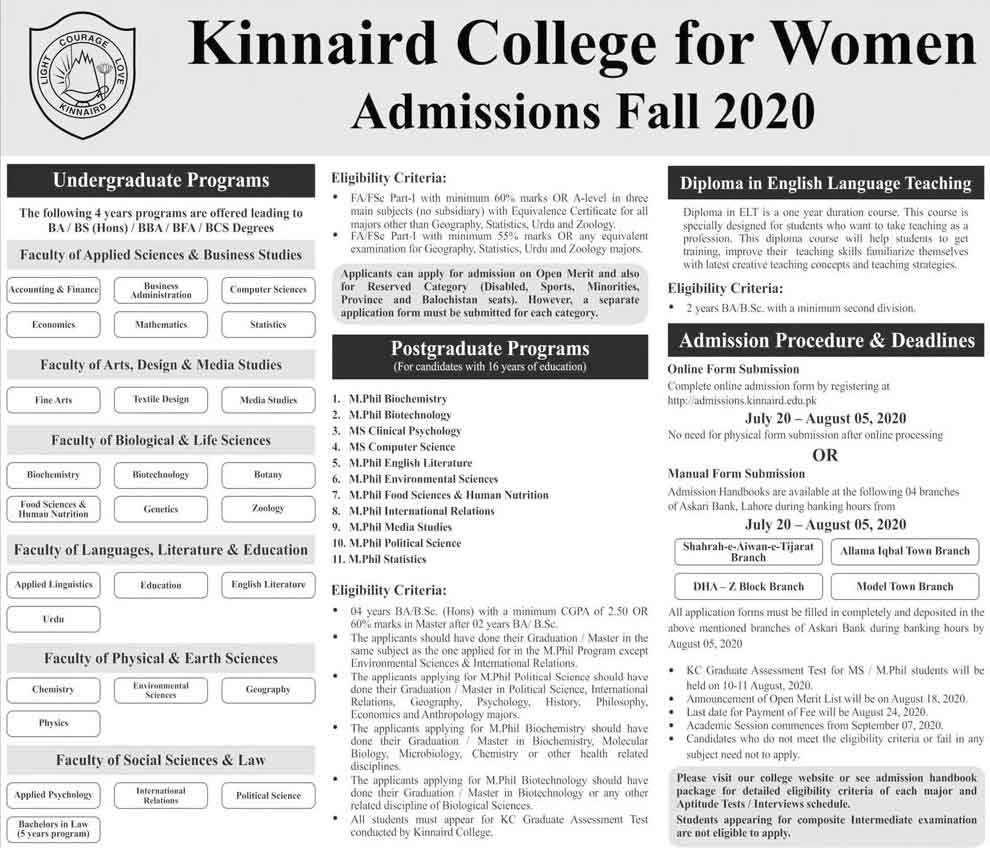 Kinnaird-College-for-Women-Lahore-Admission-2020