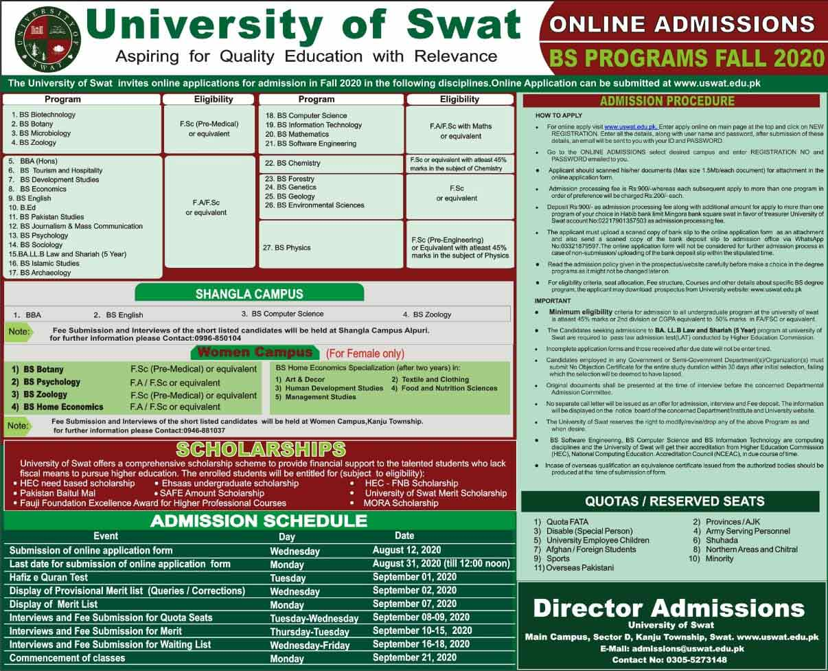 University-of-Swat-BS-Admissions-Merit-List-2020