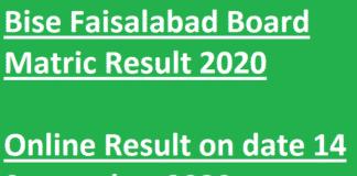 Bise Faisalabad Matric Result 2020