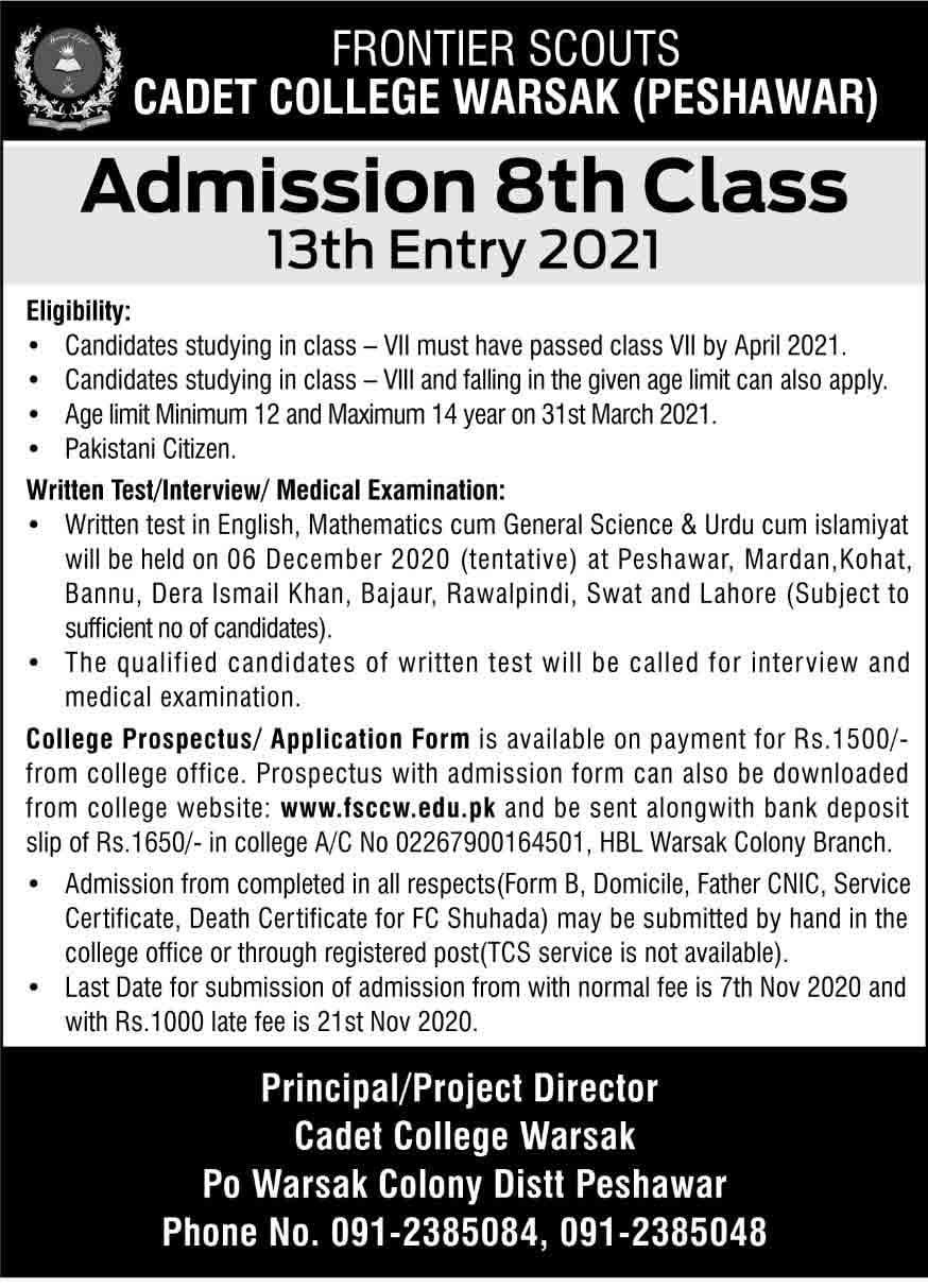 Cadet-College-Warsak-Peshawar-Admission-2020
