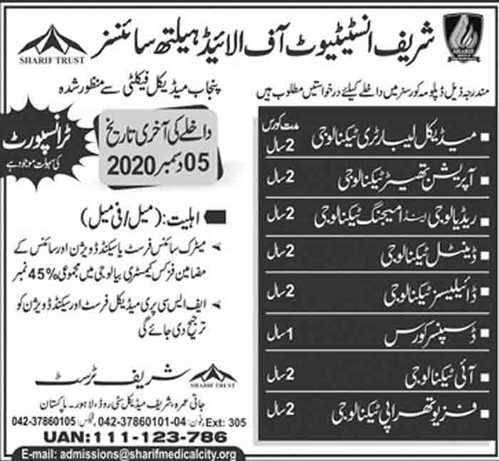 Sharif-Institute-of-Allied-Health-Sciences-Lahore-Admission-2020