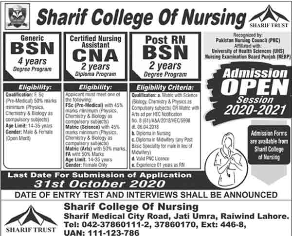 sharif-college-of-nursing-merit-list-2021