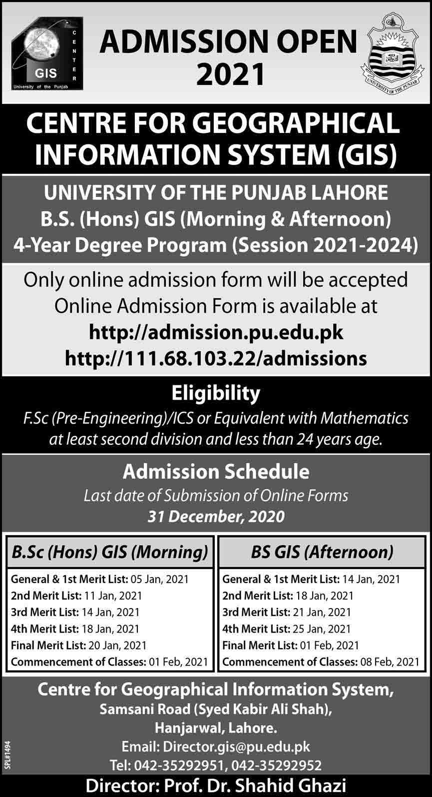 GIS-Punjab-University-BS-BSC-Admission-2021-Merit-List