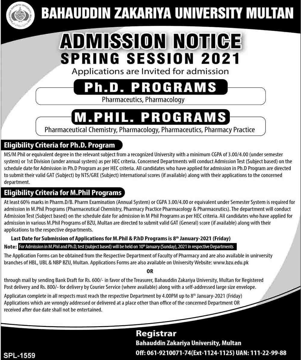 BZU Multan PhD Admission 2021