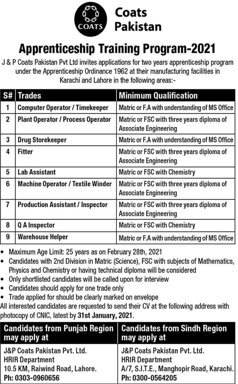 Coats-Pakistan-Apprenticeship-2021