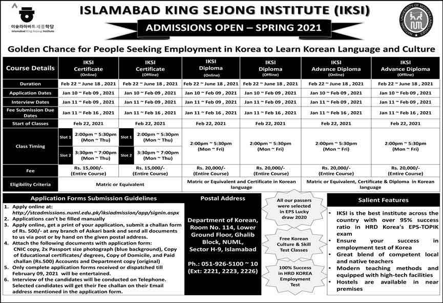 Islamabad-King-Sejong-Institute-Admission-2021