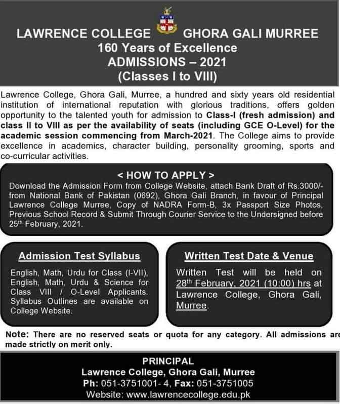 Lawrence-College-Ghora-Gali-Murree-Admission-2021