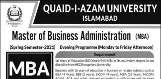 Quaid-e-Azam-University-Admission-2021
