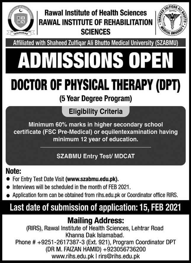 Rawal-Institute-of-Health-Sciences-Admission-2021
