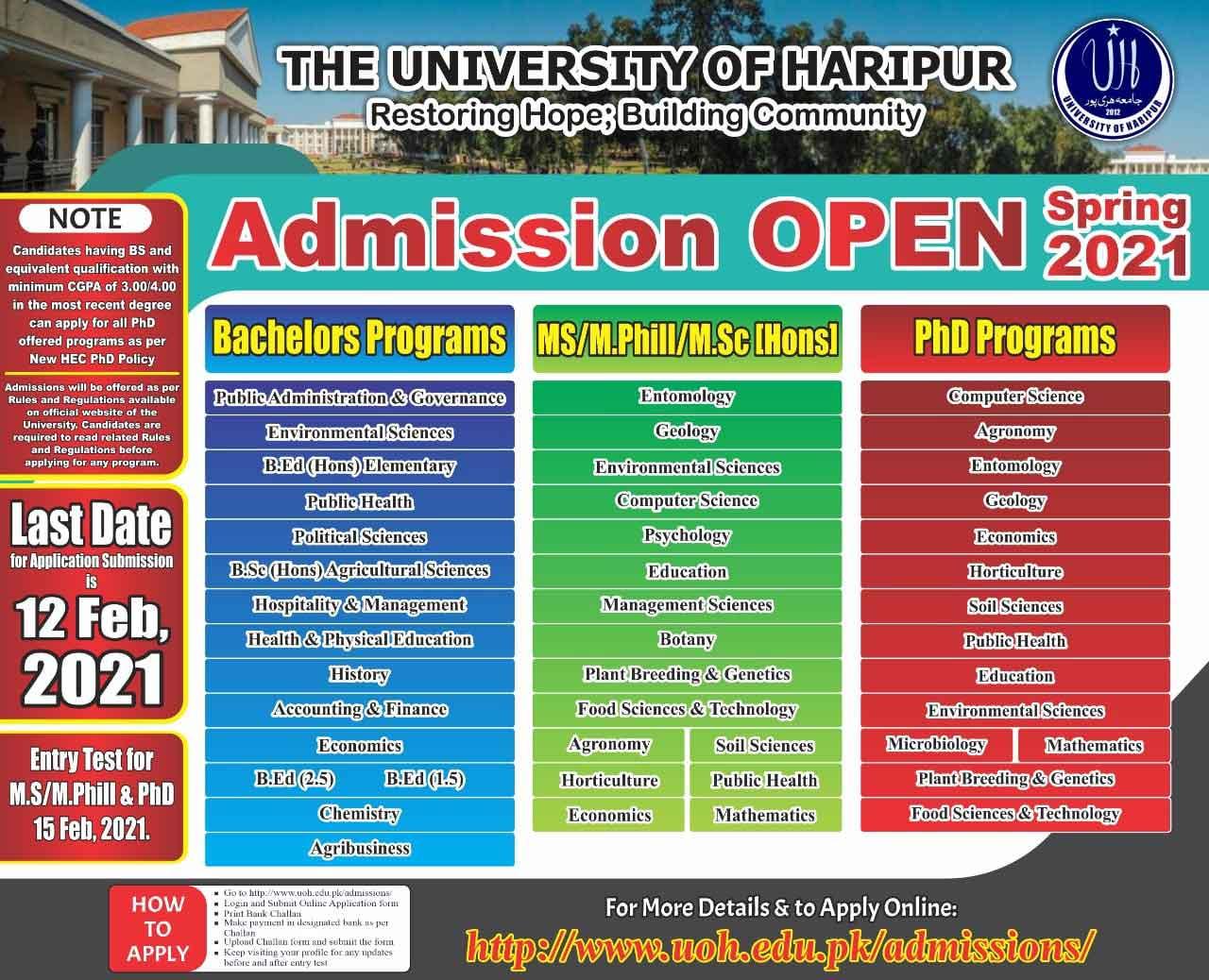 University-Of-Haripur-Admission-2021