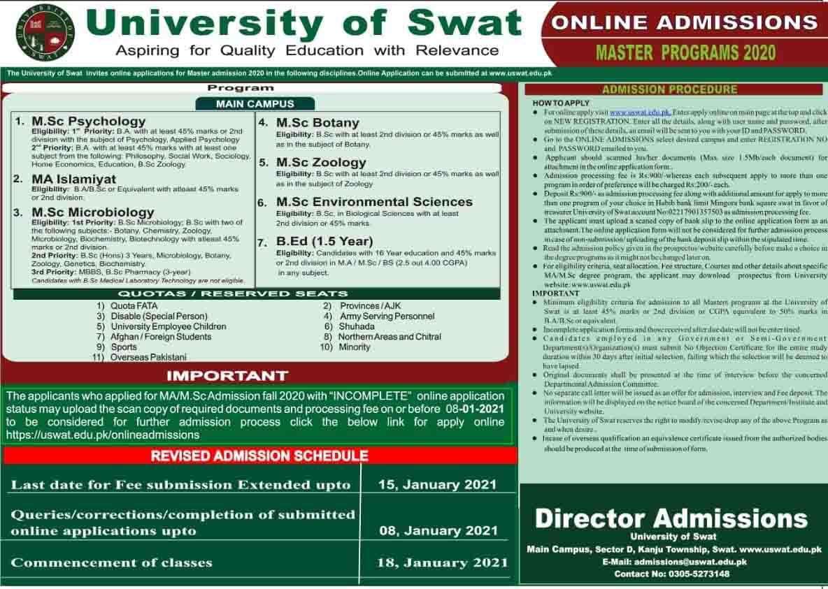 University of Swat Admission 2021