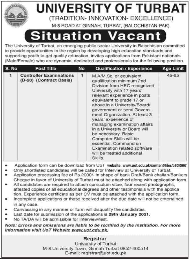 University-of-Turbat-Jobs-2021