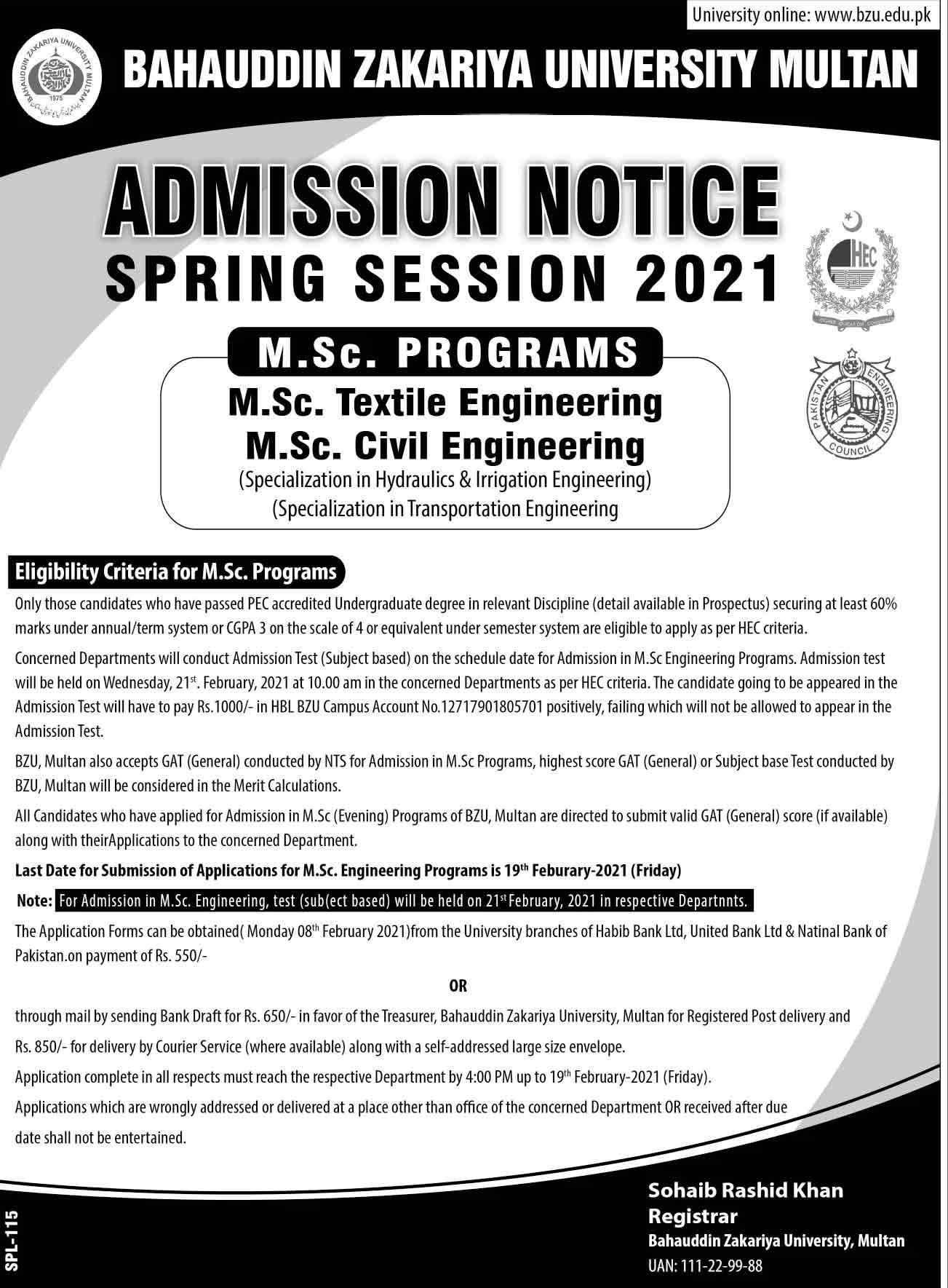 BZU-Multan-MA-MSC-Admission-2021