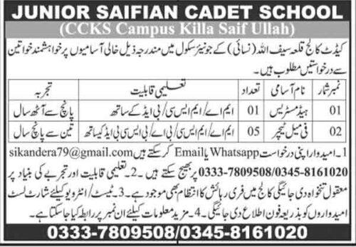 Cadet-College-Killa-Saifullah-Jobs-2021
