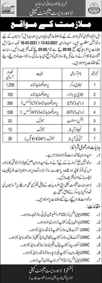 Lahore-Waste-Management-Company-Jobs-2021