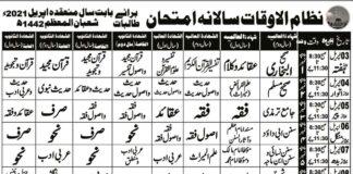 Tanzeem-Ul-Madaris-Ahle-Sunnat-Date-Sheet-2021