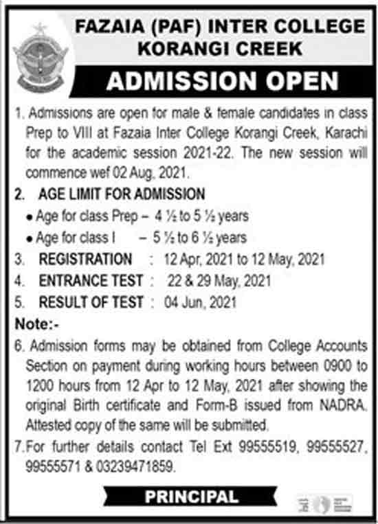 Fazaia-Inter-College-Karachi-Admissions-2021