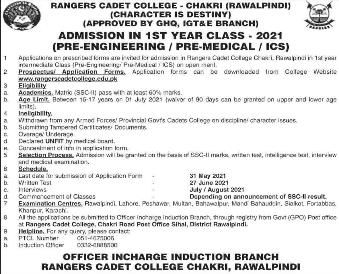 Ranger-Cadet-College-Chakri-Admission-2021