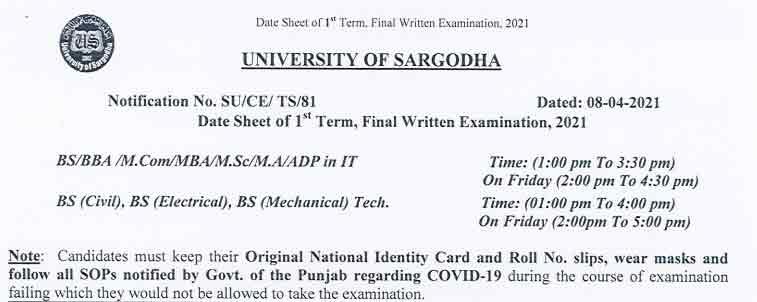 University-of-Sargodha-Date-Sheet-2021