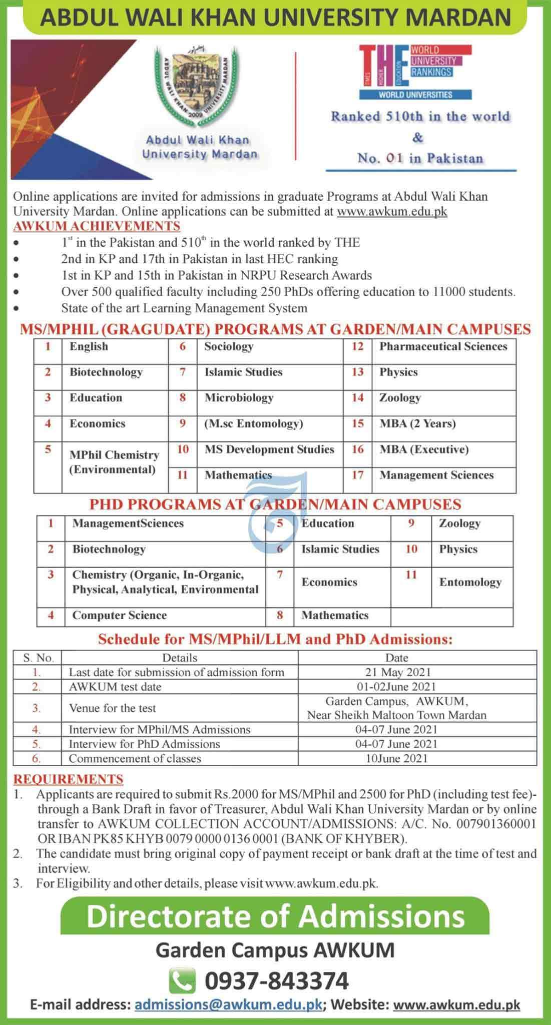 Abdul-Wali-Khan-University-Mardan-Admission-2021