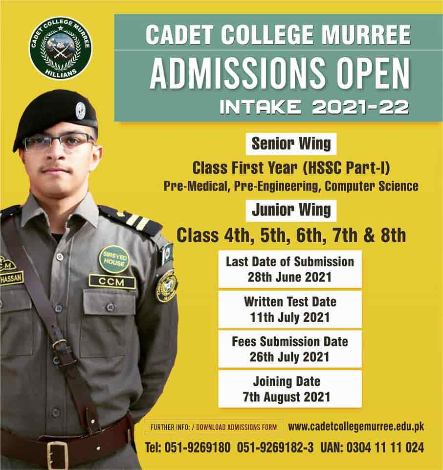 Cadet College Murree Admission 2021
