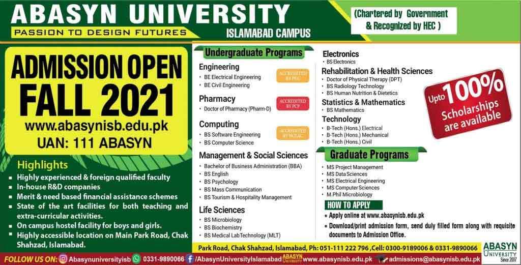 ABASYN-University-Islamabad-Admission-2021