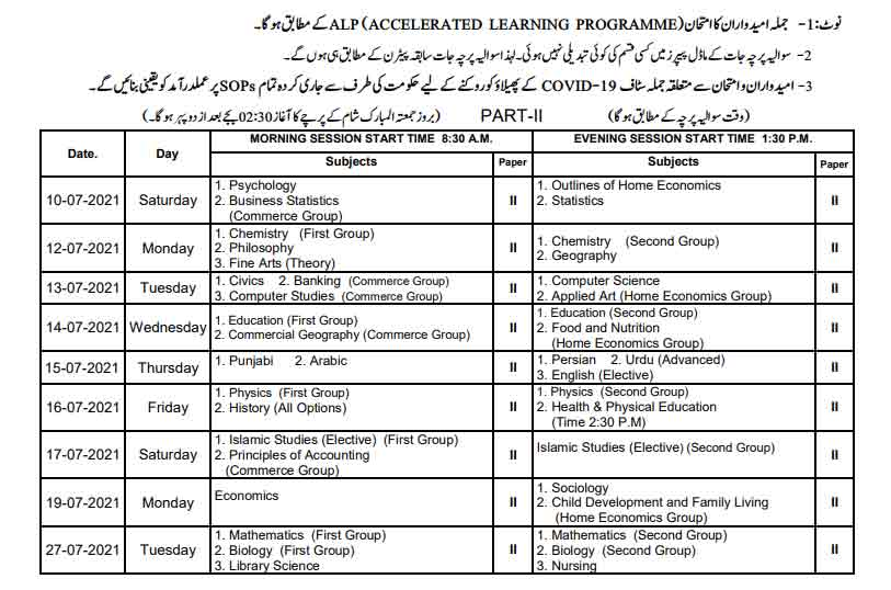 Bise-Lahore-12th-class-date-sheet