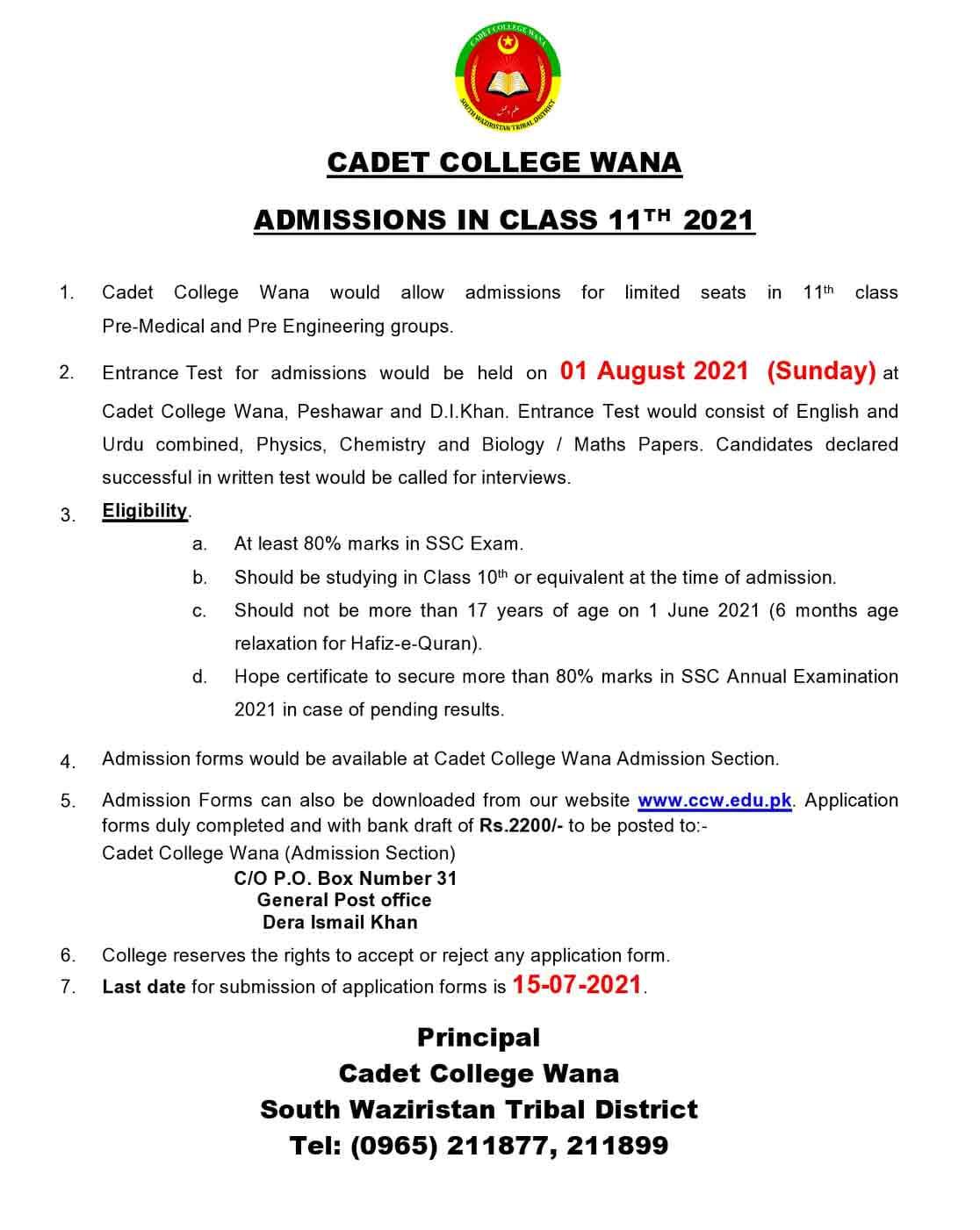 Cadet-College-Wana-Admission-Form-2021