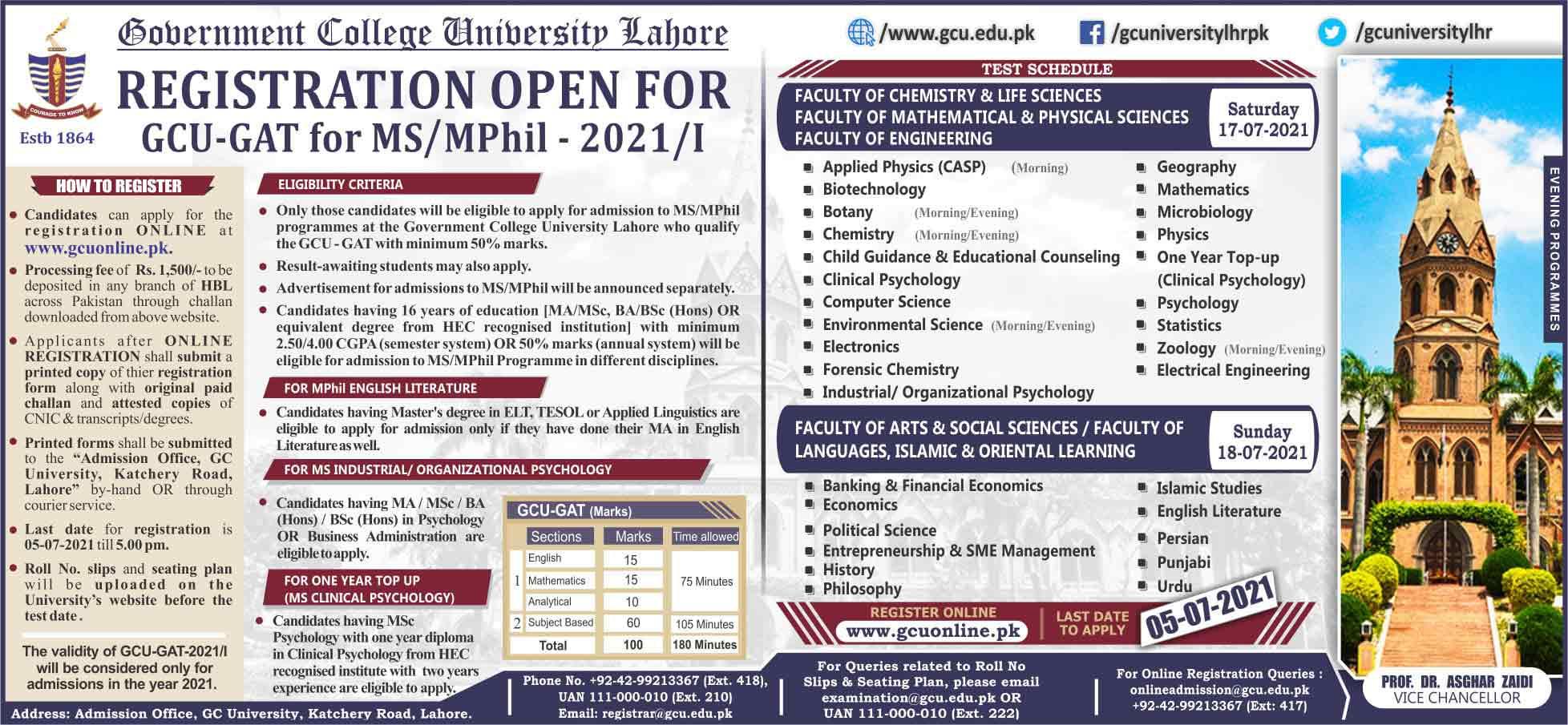 GCU-Lahore-GAT-Test-MS-Mphil-2021