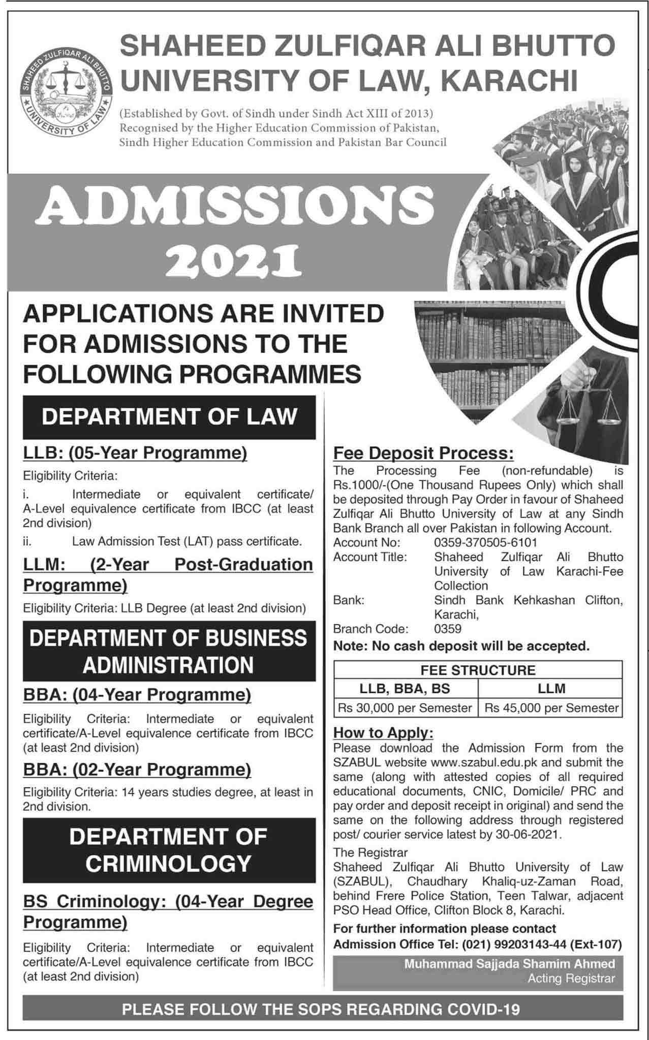 Shaheed-Zulfiqar-Ali-Bhutto-Law-College-Admission-2021