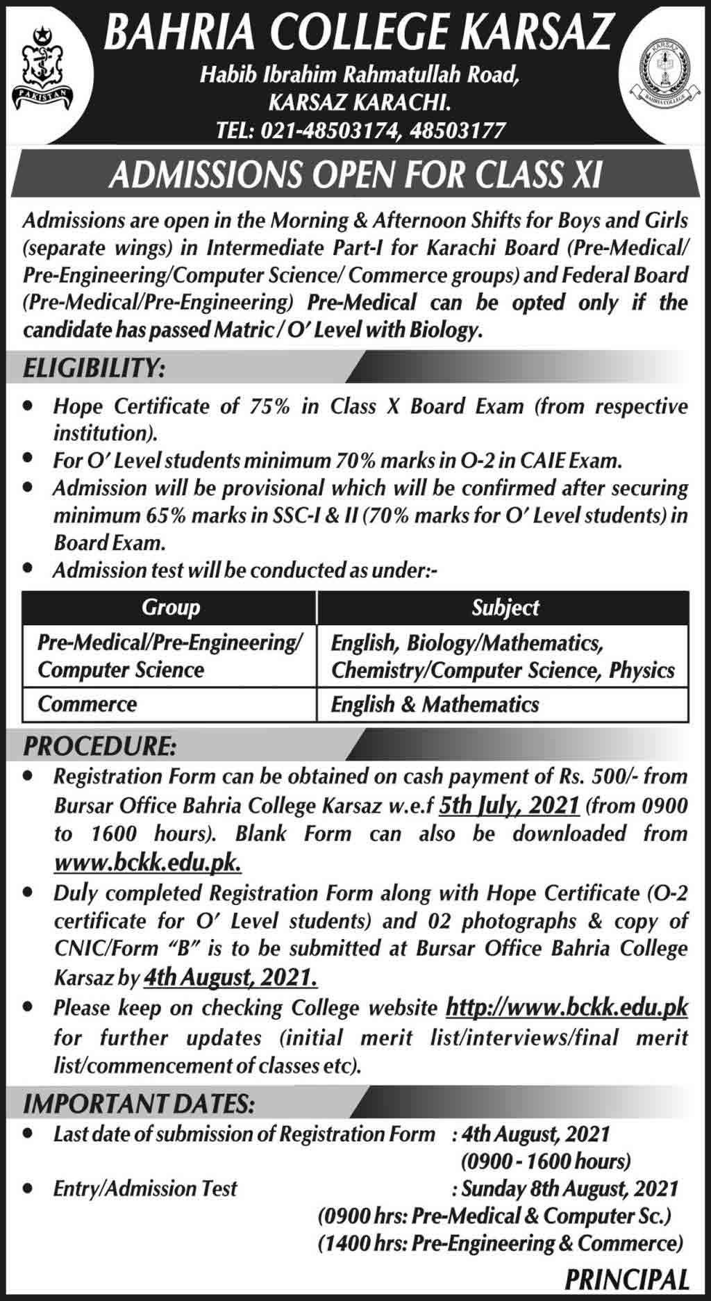 Bahria-College-Karsaz-Karachi-Admission-2021