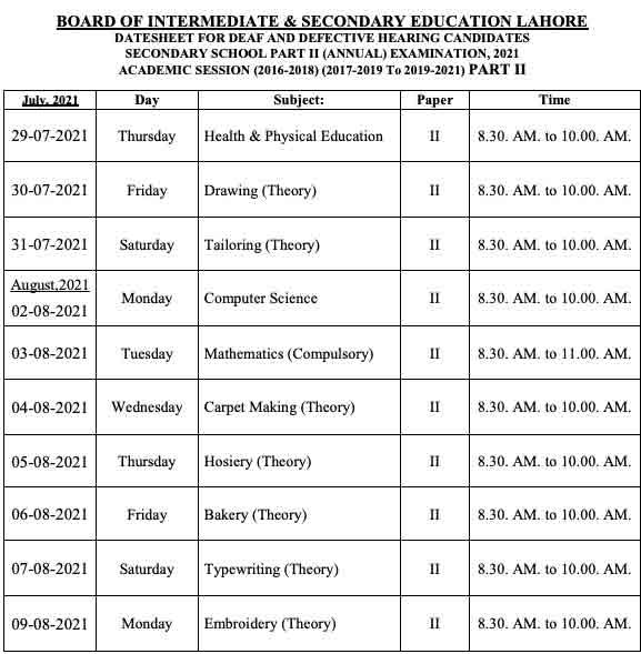 Bise-Lahore-Board-Matric-Date-Sheet-2021